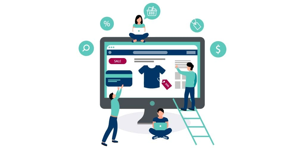 Best Practices for the E-Commerce Financial Close | Identify Business Process if Not Yet Online | Four illustrated individuals are gathered around computer screen gathering ideas for e-commerce business
