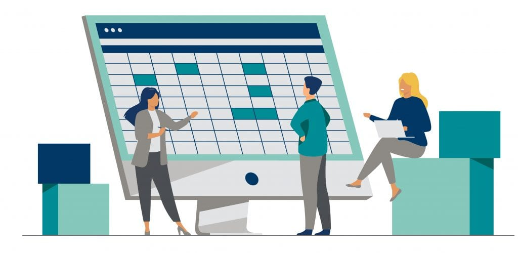The Controller's Guide to Vendor Statement Reconciliation | Spreadsheets | Three illustrated individuals gather around a computer that displays spreadsheets